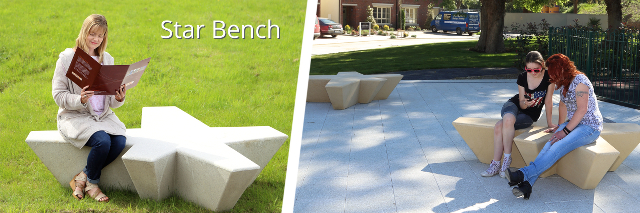 Reconstituted Stone Star Bench